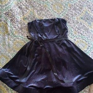 Navy sparkle strapless dress